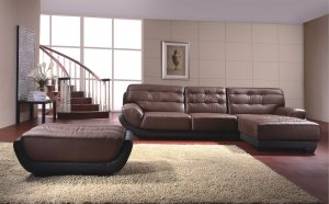 Modern Coffee Genuine Italian Leather Sectional by ESF Furniture