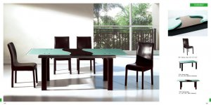 River Contemporary Dining Room Set w/ Leather Legs Table