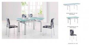 Ultra Modern Glass & Tube Extendible Dining Room Set