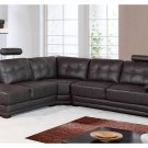 Unique Italian Leather Brown Adjustable Headrest Sectional Sofa