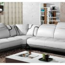 White & Grey Top Grain Full Leather Modern Sectional Sofa