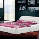 Diamond Leather Platform Bed White w/ Adjustable Headrests
