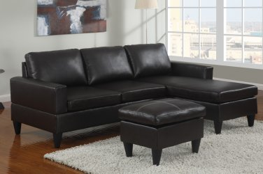 Leather Sectional Sofa Fusion Style Black