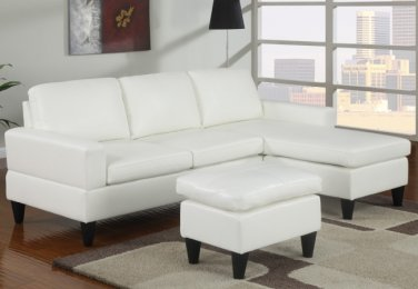 Leather Sectional Sofa Fusion Style White