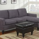 Microfiber Sectional Sofa Fusion Style Grey