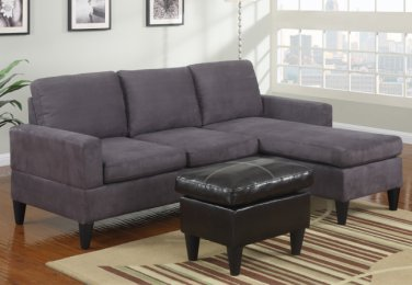 Microfiber Sectional Sofa Fusion Style Grey