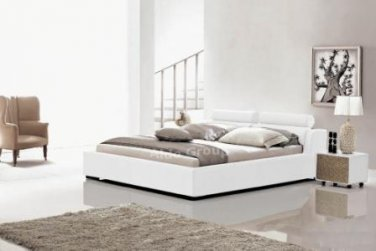 Modern Leather Logan Style Platform Queen Bed White