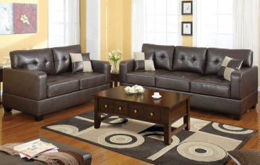 Leather Sofa and Loveseat Set Bradington Style Brown