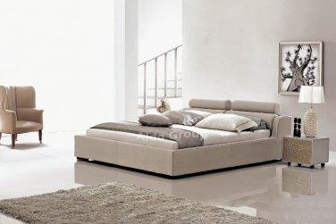 Modern Leather Logan Style Platform King Bed Beige