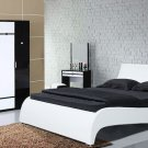 Modern Leather Platform Gaga King Bed w/ Side Tables