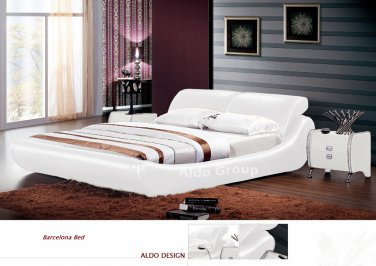Barcelona Leather Platform Queen Bed White