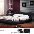 Barcelona Leather Platform Queen Bed Black