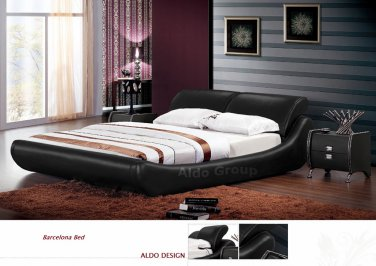 Barcelona Leather Platform Queen Bed Black