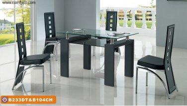 Modern Metal & Glass Zoom Dining Set 5-Piece Black