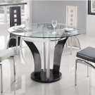 Modern Metal & Glass Daisy Round Dining Set 5-Piece White & Black