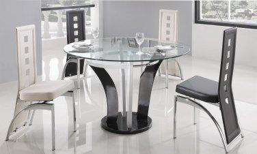 Modern Metal & Glass Daisy Round Dining Set 5-Piece White & Black