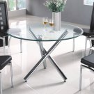 Modern Metal & Glass Distress Dining Set 5-Piece Black