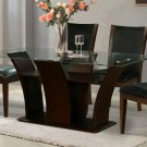 Modern Wood & Glass Daisy Dining Set 5-Piece Brown