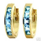 DD-1048Y: 14K. SOLID GOLD HUGGIE EARRINGS WITH NATURAL BLUE TOPAZ