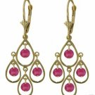 DD-2411Y: 14K. GOLD CHANDELIERS EARRINGS WITH NATURAL PINK TOPAZ