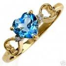 DD-R-1270Y: 14K. GOLD RING W/ NATURAL DIAMONDS & HEART BLUE TOPAZ