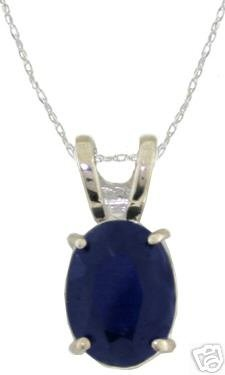 DD-1673W: 14K. WHITE GOLD  NECKLACE WITH NATURAL SAPPHIRE