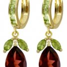 DD-3132Y: 14K. SOLID GOLD EARRINGS WITH NATURAL PERIDOT & GARNETS