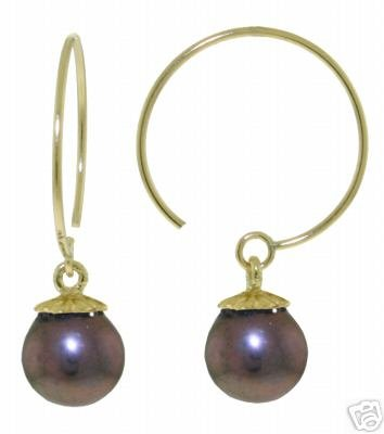 DD-2866Y: 14K. GOLD CIRCLE WIRE EARRING WITH DANGLING BLACK PEARL