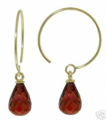 DD-2868Y: 14K. GOLD CIRCLE WIRE EARRINGS WITH DANGLING GARNETS