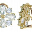 DD-2154Y: 14K SOLID GOLD FRENCH CLIPS EARRINGS WITH AQUAMARINES