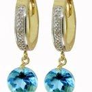 DD-1911Y: 14K. GOLD DIAMONDS HUGGIE EARRING W/ NATURAL BLUE TOPAZ