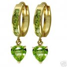 DD-1807: 14K. SOLID GOLD HOOP EARRINGS WITH NATURAL PERIDOTS