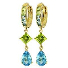 DD-1307Y: 14K GOLD DANGLING HUGGIE EARRINGS BLUE TOPAZ PERIDOT