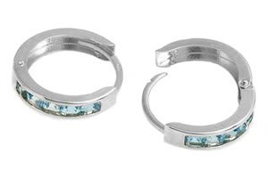 DD-1048W: 14K. WHITE GOLD HUGGIE EARRINGS WITH NATURAL BLUE TOPAZ