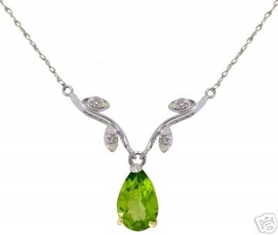DD-2402W: 14K.WHITE GOLD NECKLACE WITH NATURAL DIAMONDS & PERIDOT