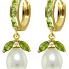DD-3110Y: 14K. SOLID GOLD EARRINGS WITH NATURAL PEARLS & PERIDOTS