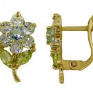 DD-2366Y: 14K GOLD FLOWERS STUD EARRINGS W/ AQUAMARINE & PERIDOTS