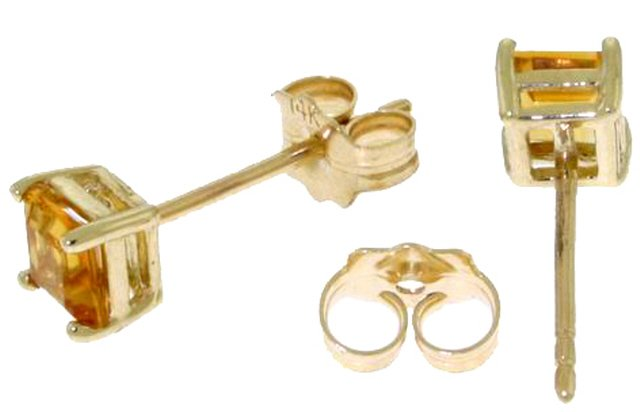 DD-2063Y: 14K. GOLD STUD EARRINGS W/PRINCESS CUT NATURAL CITRINES
