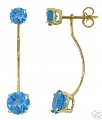 DD-2124Y: 14K. SOLID GOLD STUD-DROP EARRINGS NATURAL BLUE TOPAZ