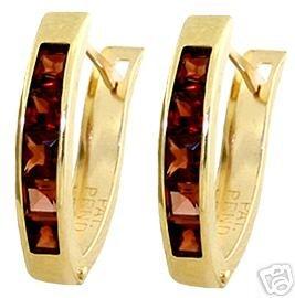 DD-1053Y: 14K. SOLID GOLD HOOP EARRINGS W/ NATURAL GARNET