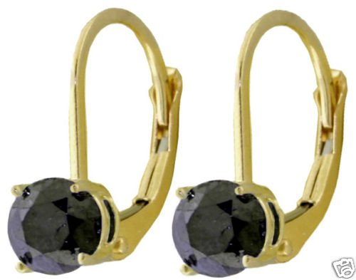 DD-2386Y: 14K. GOLD LEVER BACK EARRINGS NATURAL BLACK DIAMONDS