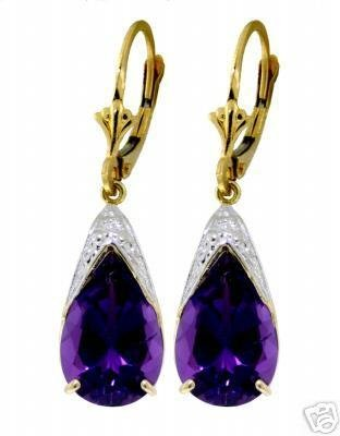 DD-1492Y:14K. GOLD LEVER BACK EARRINGS NATURAL13x9 mm AMETHYST
