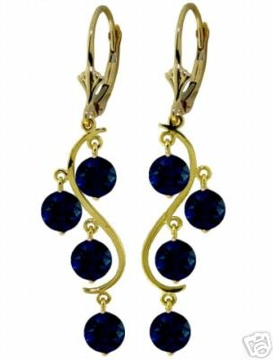DD-2093Y: 14K. SOLID GOLD CHANDELIERS EARRINGS NATURAL SAPPHIRES