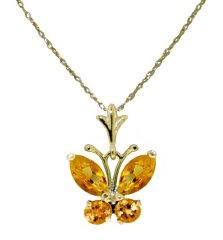 DD-1827Y: 14K. SOLID GOLD BUTTERFLY NECKLACE W/ NATURAL CITRINE