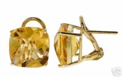 DD-2324Y: 14K. GOLD FRENCH CLIPS EARRINGS WITH NATURAL CITRINES
