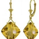 DD-3863W: 14K. LEVER BACK EARRINGS WITH CHECKERBOARD CUT CITRINES