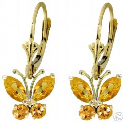 DD-1828Y: 14K GOLD BUTTERFLY EARRINGS WITH NATURAL  CITRINE
