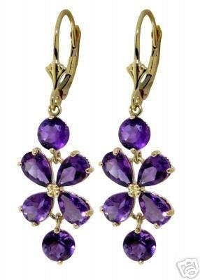 DD-1620Y: 14K. SOLID GOLD CHANDELIERS EARRINGS NATURAL AMETHYST