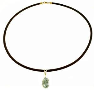 DD-4133: 14K.GOLD & LEATHER NECKLACE W/DIAMOND & GREEN AMETHYST