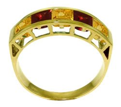 14K. SOLID GOLD RING WITH  NATURAL CITRINES & GARNETS